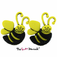 FUNKY FUZZY BUMBLE BEE STUD EARRINGS KITSCH GIFT GIRLS NOVELTY QUIRKY FUN SUMMER