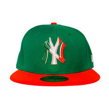 NEW - New York YANKEES New Era MLB Hat - Men's Fitted Cap (Green, Red)