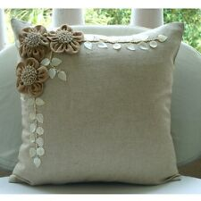 Beige Cotton Linen 35x35 cm Jute Flowers Throw Cushions Cover - Jute Blooms