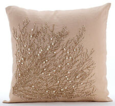 Jute Tree Branch Beige Cotton Linen 55x55 cm Throw Cushion Cover - Jute Drought