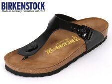 BIRKENSTOCK ARIZONA  GIZEH  PATENT WHITE / BLACK Arizona Soft Footbed NEW L M 23