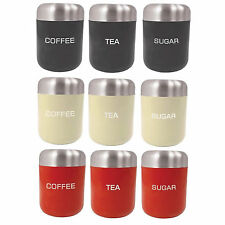 Set of 3 Piece Coffee Tea & Sugar Canister Kitchen Storage Tins Red Cream Black