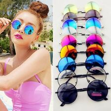 Retro Hippie Lens Mercury Silver Frame Round Circle Lens Reflective Sunglasses Y