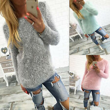 New Womens Long Sleeve Knit Jumper Tops Sweater Loose Casual Blouse Sweatshirt