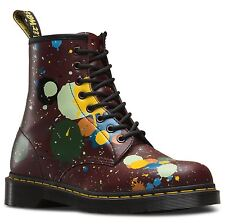 Dr Martens Unisex 1460 Cherry Red Splatter Smooth Leather 8 Eye Ankle Boots