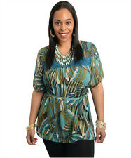 Peacock Print Chiffon Green Blue Teal Belted Sheer Blouse Top XL 2X 3X Belted
