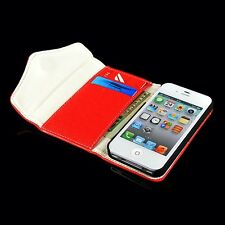 New For iPhone 5S 4S Unique Zipper PU Wallet Flip Hard Case Cover Card Holder