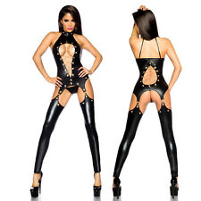 Sexy Straps Outfit Wetlook Suspender Set Chains Eyelets Lacquer Leather Look Cut