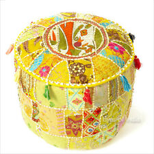 """17 X 12"""" Yellow Patchwork Round Pouf Pouffe Ottoman Cover Floor Seating Bohemian"""