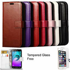 Leather Wallet Case Flip Cover Book Pouch + Tempered Glass For iPhone 5 5s 5se
