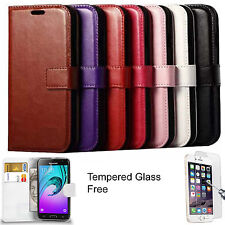 Luxury Leather Wallet Case Flip Cover Book Pouch +Tempered Glass For iPhone 6 6s