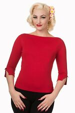 "Banned Apparel ""Addicted"" Vintage 50s Rockabilly Blouse Retro Sweater Top RED"