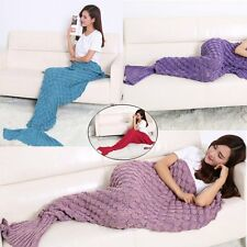 Super Soft Crocheted Mermaid Tail Blanket+Knitting Adult Sofa Sleeping 190cm