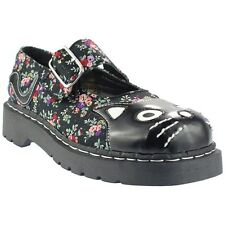 TUK Anarchic Mary Jane Shoes - Black Floral Print