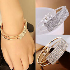 New Women Fashion Style Gold Rhinestone Bangle Cuff Bracelet Jewelry