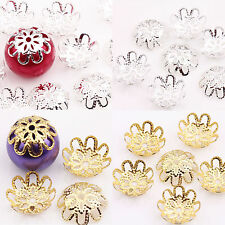 200Pcs Gold /Silver Plated Hollow Flower End Bead Caps Jewelry Craft 10MM DIY