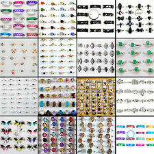 100Pcs Wholesale Lots Silver Plated Rhinestone Rings Wedding Engagement Jewelry