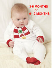 NEW BABY 3-6 OR 9-12 MONTHS UNISEX SNOWMAN SUIT WHITE BOY OR GIRL BNWT CHRISTMAS