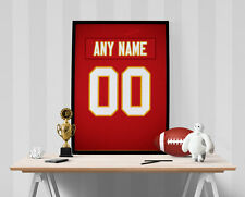 Kansas City Chiefs Jersey Poster - Personalized Name & Number FREE US SHIPPING