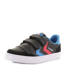 BOYS KIDS HUMMEL STADIL JR LOW LEATHER BLACK BLUE RED  TRAINERS SHOES Shu Size