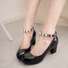Womens High Heel Mary Jane Patent Leather Pumps Bling Ankle Strap Shoes Plus Sz