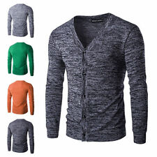 Stylish Mens Slim Fit V-neck Buttons Knitted Sweater Tops Cardigan Pullover Coat
