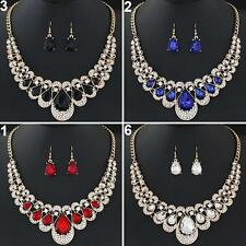 Women Fashion Rhinestone Waterdrop Pendant Necklace Earrings Jewelry Set Grand