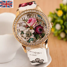 Womens Girls Beauty NEW Fashion Flower Rose Leather Crystal Casual Analog Watch