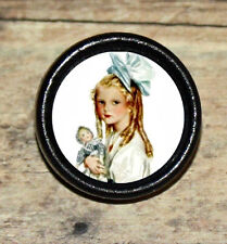 Big Blue Bow VICTORIAN GIRL Altered Art Tie Tack or Ring or Brooch pin