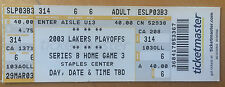2003 NBA Playoff Los Angeles LAKERS vs San Antonio SPURS TICKET Bryant Duncan