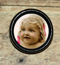 VICTORIAN BABY GIRL photo portrait Altered Art Tie Tack or Ring or Brooch pin