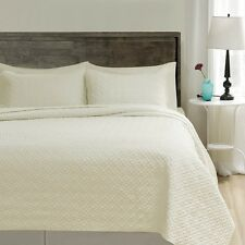 100% Polyester Microfiber 3PC Ivory Bed Quilt Coverlet Bedspread Set- All Sizes
