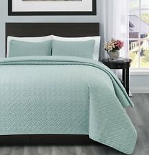 100% Polyester Microfiber 3PC Aqua Green Quilt Coverlet Bedspread Set-3 Sizes