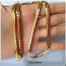 """18k Yellow Gold Filled Mens Necklace 24"""" Snake Curb Chain 4MM GF Jewelry SM"""