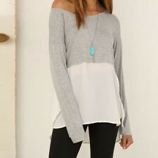 Women Chiffon Stitching Round Neck Side Split Casual Loose Long-sleeved T-shirt