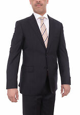 Mens Napoli Navy Blue Pinstriped Half Canvassed Super 180s Wool Suit