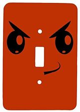 Single Toggle Metal Light Switch Cover with Smirking Monster Design
