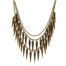 Punk Multilayer Rivet Necklace Spike Pendant Tassel Necklace Women Accessories