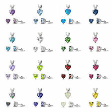 "Sterling Silver 925 CZ HEART SETS 7X7 PENDANT & 6X6 EARRINGS WITH 18"" BOX CHAIN"