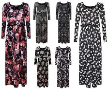 WOMENS LADIES RUCHED PUFFBALL FLORAL PRINT LONG SLEEVE MAXI DRESS PLUS SIZE 8-26