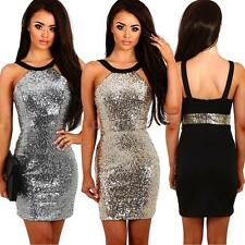 Fashion Women Sequin Mini Dress Bodycon Backless Party Cocktail Gold/Silver Y5D0