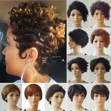 Sexy Fluffy Curly Straight Short Wigs Full 100% Remy Human Hair Wigs Women Dress