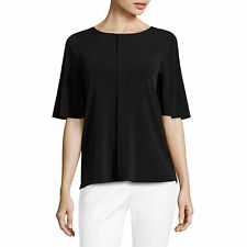 Worthington Short Sleeve Round Neck Knit Blouse Petites Size PS Black