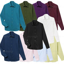 Fashion Solid Colors Slim Fit Luxury Mens Shirt Long Sleeve Casual Shirts S-XL