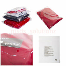 CLEAR GARMENTS CELLOPHANE PEEL&SEAL PACKAGING OPP BAGS WARNING NOTICE CELLO BAG