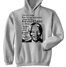 NELSON MANDELA DO NOT JUDGE QUOTE P -  NEW COTTON GREY HOODIE