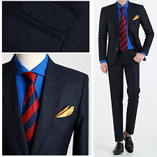2BT Navy Blue Striped Men s Slim Fit wedding Prom Suits Tuxedos Lounge Suit UK