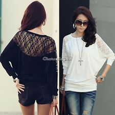 Womens Batwing Dolman Long Sleeve Lace T-Shirt Tops Loose Blouses Black / White