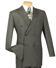 Men's Charcoal Gray Pinstripe Double Breasted 6 Button Classic-Fit Suit NEW