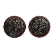 2pcs Wood Skull Head Double Flared Hollow Ear Plug Tunnels Expander Stretcher